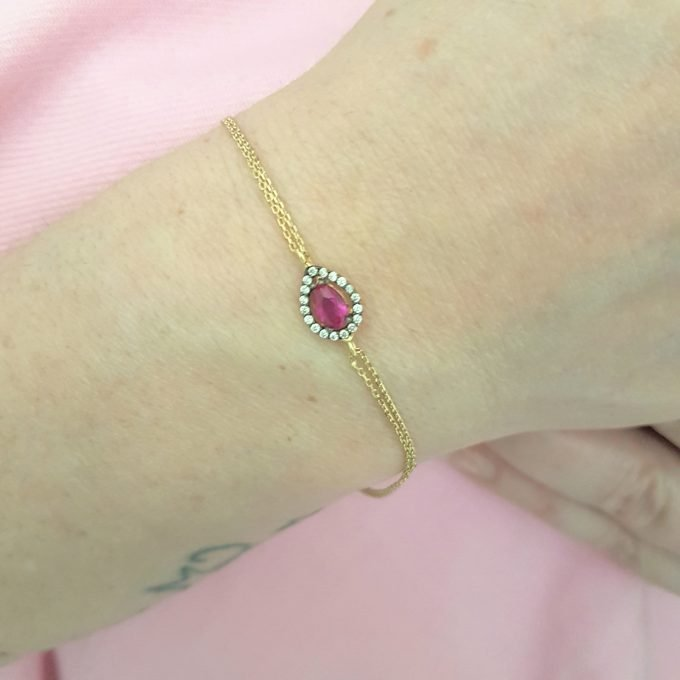 14K Real Solid Gold Tear Drop Design with RED and White Zirconia Stones Halo Elegant Dainty Delicate Charm Cute Trendy Bracelet best birthday gift for women Jewelry Mother Girl Grandma