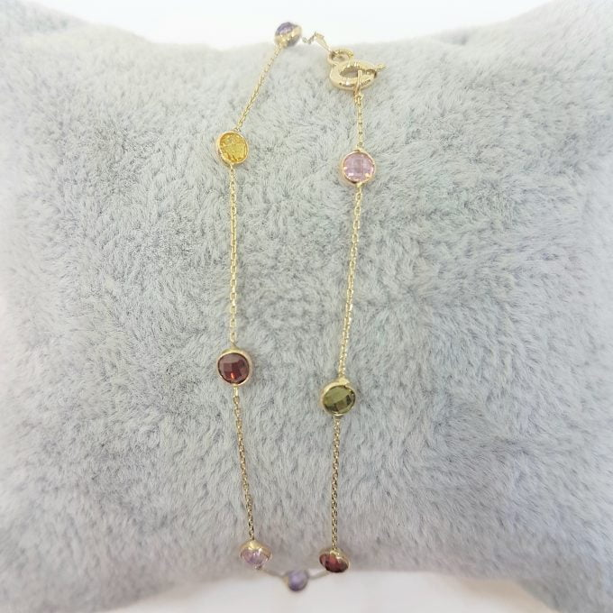 14K Real Solid Gold Decorated with Multicolor Zirconia Stones Design Tiny, Dainty,Delicate and Trendy Bracelet best gift for women,yourself, birthday