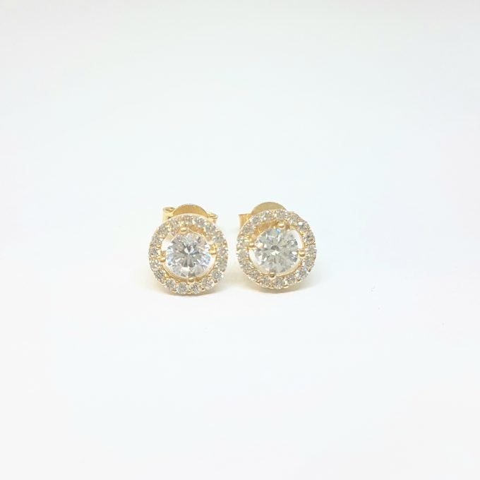Solitaire Round with Halo Stud Earrings for Women 14K Real Solid Gold Cubic Zirconia Stones