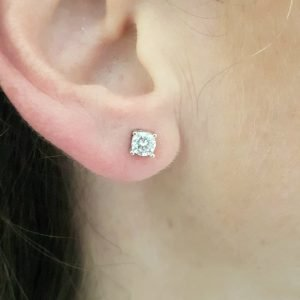 Solitaire Stud Earrings 14K Real Solid White Gold with Cubic Zirconia Round Cut Charm Dainty Handmade for Women Jewelry