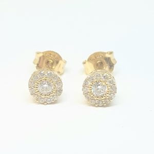 Sunflower Sun Round Halo Stud Earrings for Women 14K Real Solid Gold