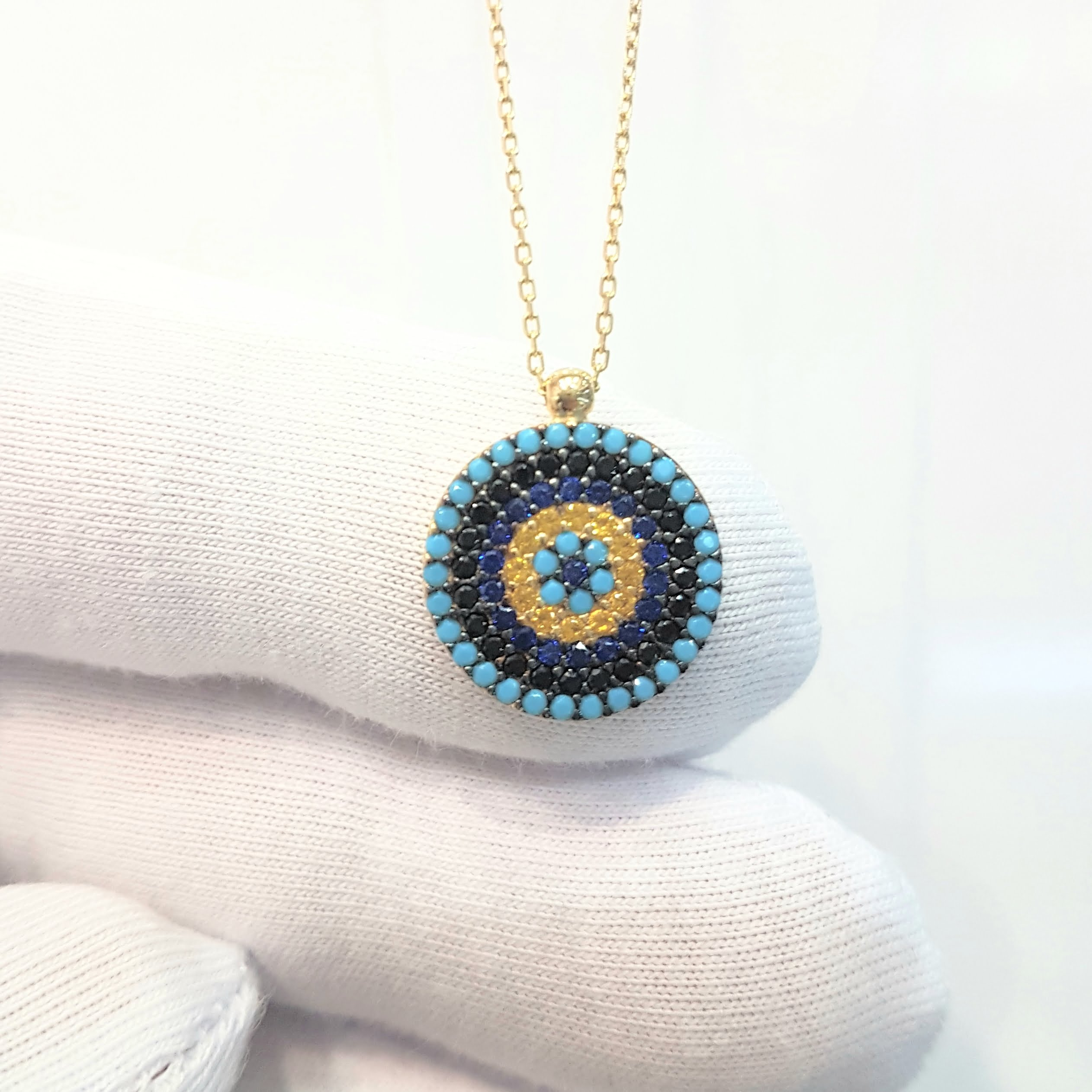 Eye Catching 14K  Modern  Circle Necklace With Colourful Zirconia Stones