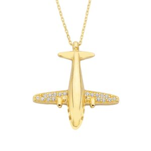 14K Gold Airplane Plane Jet Fighter Aircraft Pendant Charm Necklace for Women Travel Live Free Decorated with White Cubic Zirconia Stones Christmas Birthday Mother's Day Gift jewelry charm