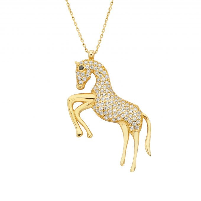 14K real solid gold horse pendant necklace for women animal jewelry horse gifts birthday christmas mother's day