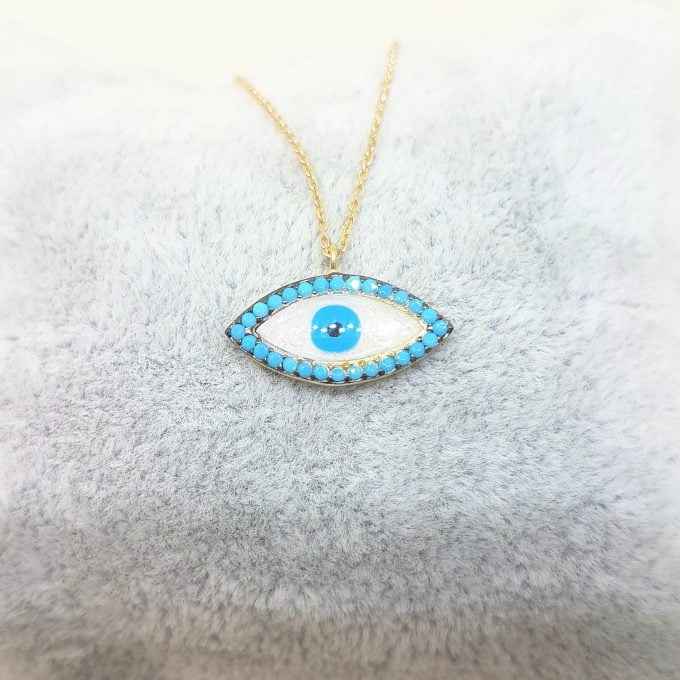 14K Real Solid Gold Lucky Evil Eye with Mother of Pearl Design Charm Dainty Delicate Trendy Turkish Evil Eye Cats Eye Faith Protection Pendant Necklace for Women Nazar