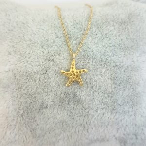 14K Real Solid Gold Starfish Pendant Necklace for Women , Gift for Her , Birthday Gift for Her , Ocean Necklace , Tiny Starfish Necklace