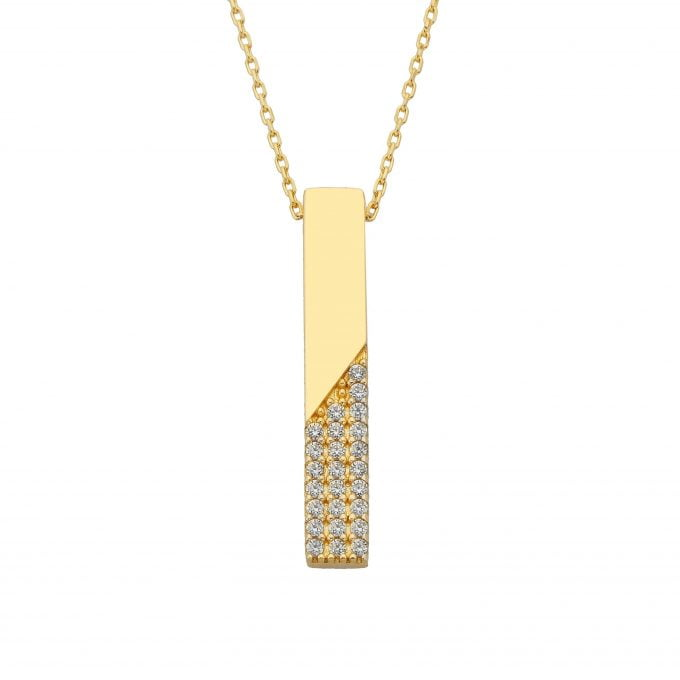 14K Real Gold Vertical Bar Half Decorated Cubic Zirconia Dainty Charm Y Chain Pendant Necklace for Women