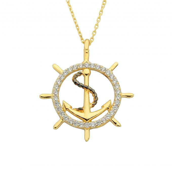 14K Real Solid Gold Anchor Pendant Necklace for Women With Zirconia Stones Charm Jewelry Ship Wheel Nautical Rope Navy Sailor