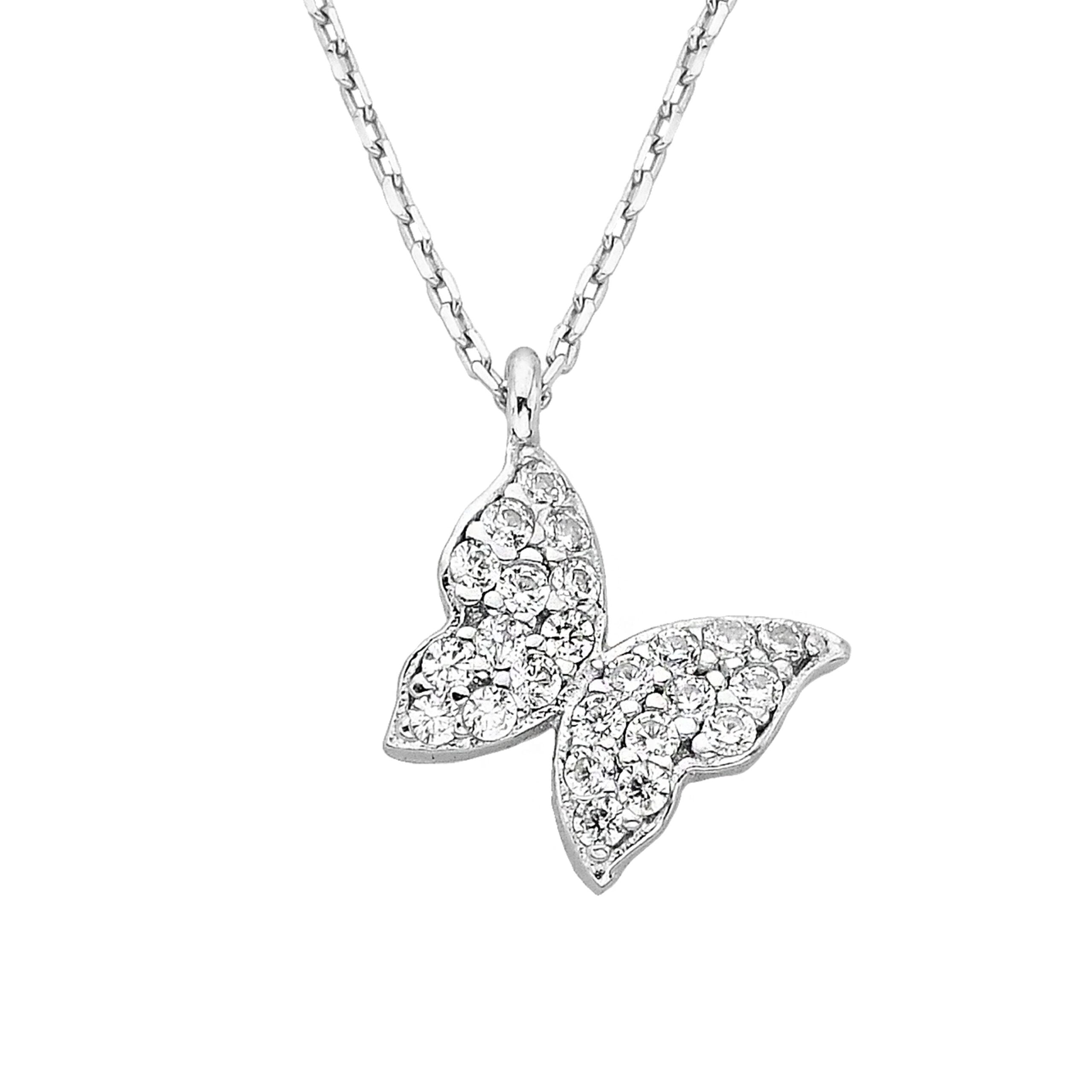 14K Real Solid Gold Butterfly Necklace | Charm Dainty Trendy CZ Pendant | Best Birthday Gift for Women White Gold