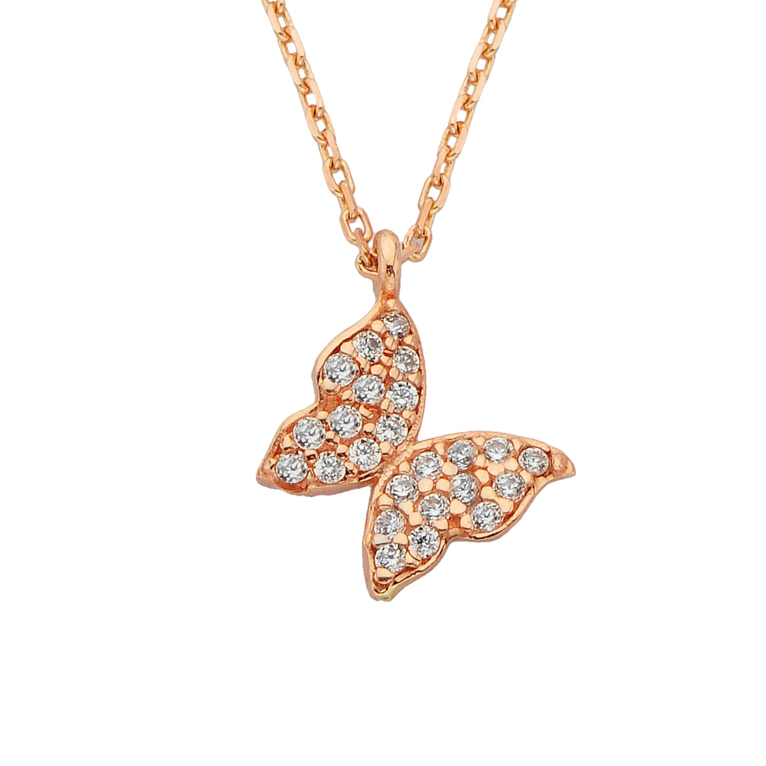14K Real Solid Gold Butterfly Necklace | Charm Dainty Trendy CZ Pendant | Best Birthday Gift for Women Rose Gold