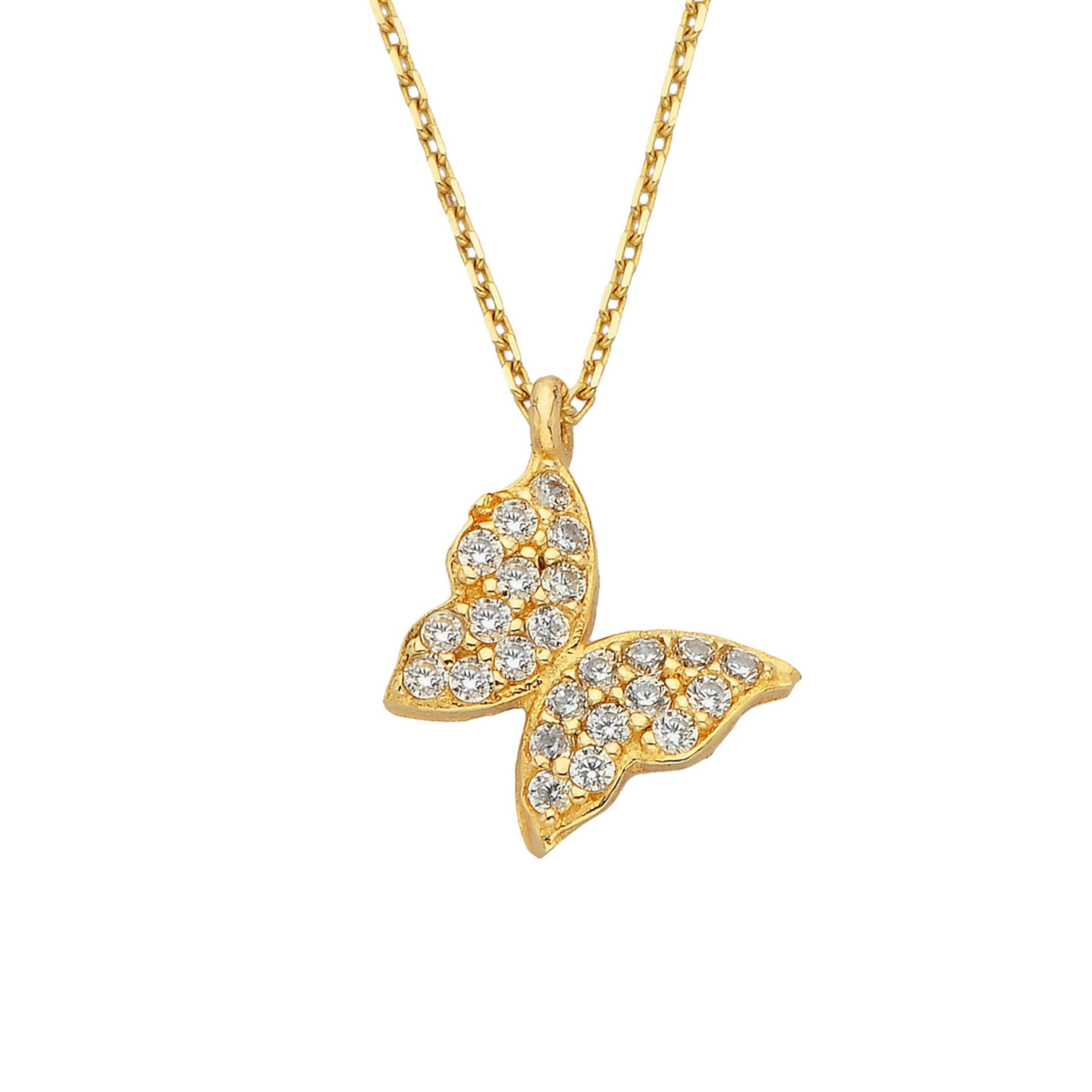14K Real Solid Gold Butterfly Necklace | Charm Dainty Trendy CZ Pendant | Best Birthday Gift for Women Xmas Christmas Bithday Gift Mother's Day mom