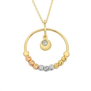 14K Real Solid Gold Circle Ring With Itallian Balls and Swinging Cubic Zirconia Stone Pendant Necklace for Women