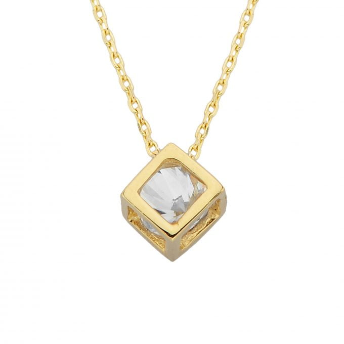 14K Real Solid Gold Cube Pendant Necklace Inside Moving Cubic Zirconia Stone Tiny Cute Charm Dainty Delicate Birthday gift for Women Girlfriend Teengirls Her