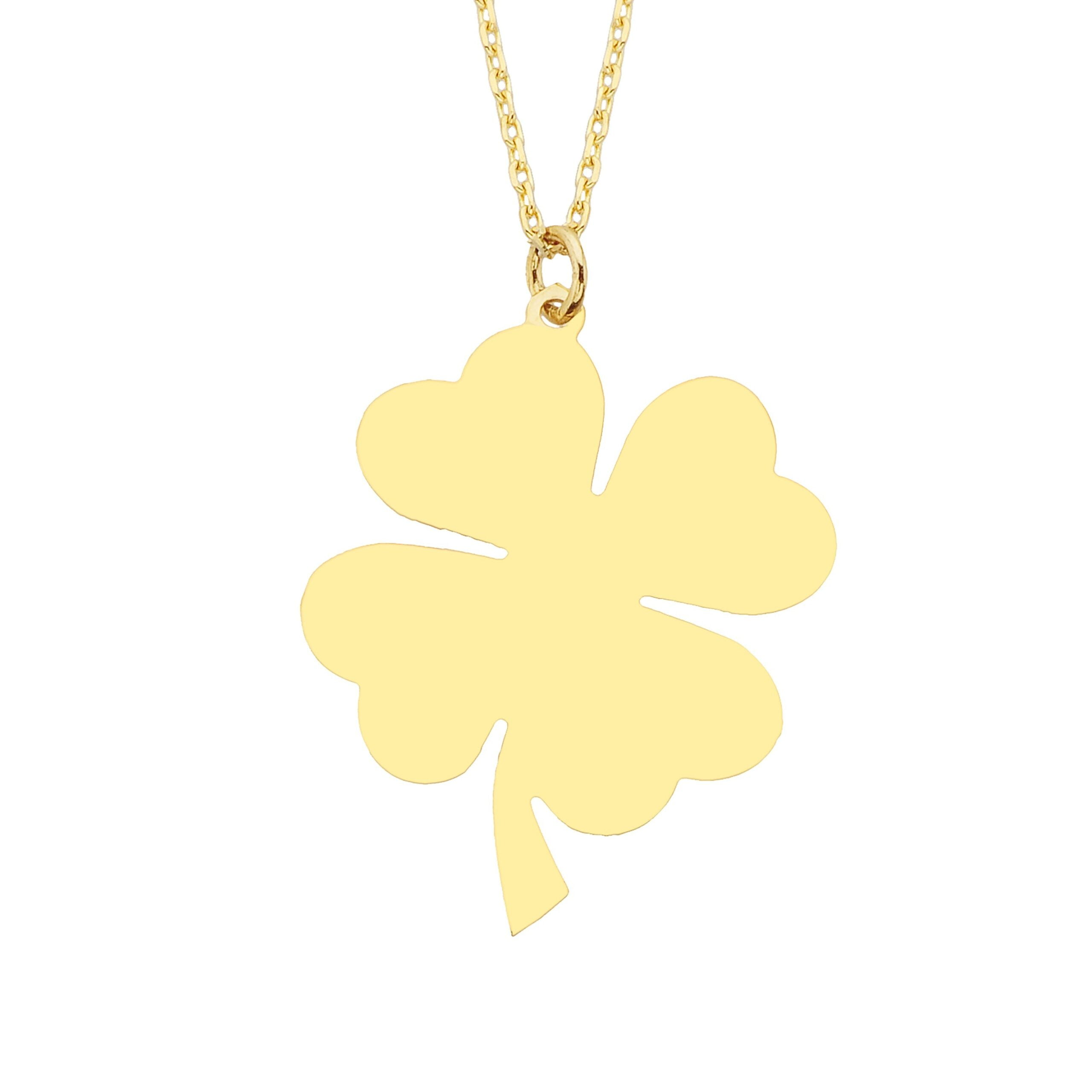 14K Real Solid Gold Elegant Four Leaf Clover Charm Dainty Trendy Pendant Necklace for Good Luck Best Birthday Gift for Lucky Women Christmas Birthday Gift Mother's Day.