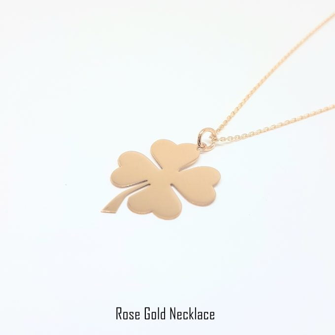 14K Real Solid Gold Elegant Four Leaf Clover Dainty Delicate Charm Trendy Pendant Necklace for Women Good Luck best birthday gift