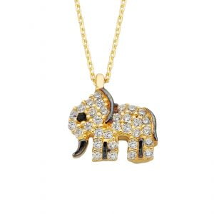 14K Real Solid Gold Elephant Necklace for Women   Best Birthday Gift   Good Luck Charms   Good Gifts for Girlfriend