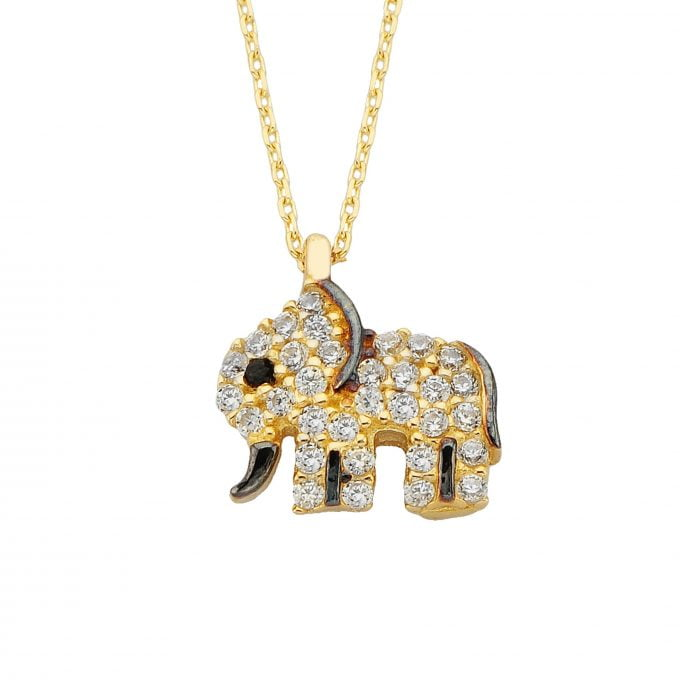 14K Real Solid Gold Elephant Necklace for Women | Best Birthday Gift | Good Luck Charms | Good Gifts for Girlfriend
