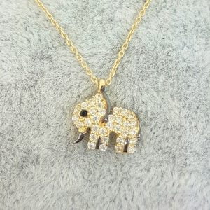 14K Real Solid Gold Elephant Pendant Necklace with White Zirconia Stones Cute Charm Dainty Best Birthday Gift for Women Good Luck christmas gift