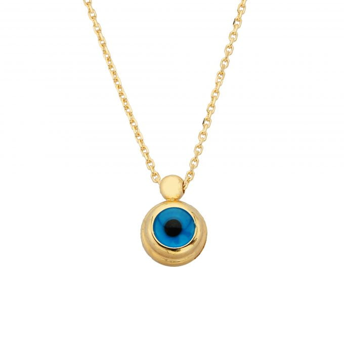 14K Real Solid Gold Evil Eye Necklace for Women | Dainty Turkish Nazar Protection Lucky Good Luck Pendant Necklaces Birthday Christmas Mother's Day gift for her