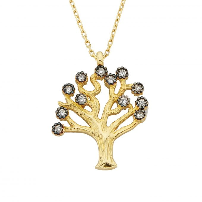 14K Real Solid Gold Family Tree of Life Pendant Necklace with Cubic Zirconia Stones for Women Mom Grandma | Best Birthday Christmas Gift
