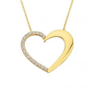 14K Real Solid Gold Heart Pendant Necklace Half Decorated with Zirconia Stones | Layered Necklaces | Gold Necklaces for Women