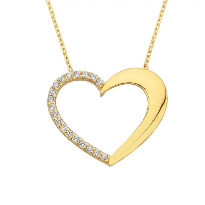 14K Real Solid Gold Heart Pendant Necklace Half Decorated with Zirconia Stones   Layered Necklaces   Gold Necklaces for Women