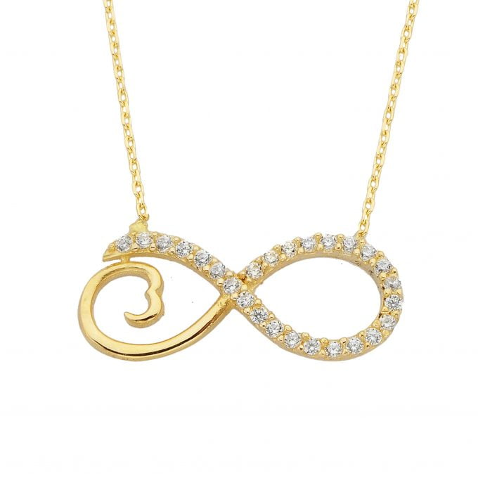 14K Real Solid Gold Infinity Forever Love Pendant Necklace for Women Design with White Cubic Zirconia Stones Charm Dainty Cute Jewelry | Best Birthday Gift