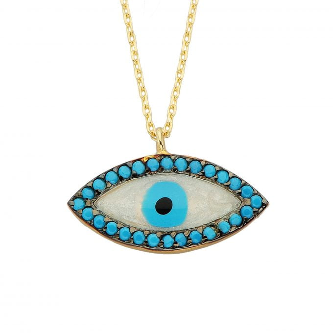 14K Real Solid Gold Lucky Evil Eye with Mother of Pearl Necklace for Women Dainty Turkish Evil Eye Cats Eye Faith Nazar Protection Pendant Birthday Christmas Mother's Day Gift