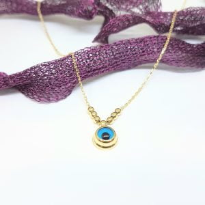 14K Real Solid Gold Lucky Evil Eye with Three Balls Blue Eyes Pendant Necklace for Women Turkish birthday gift