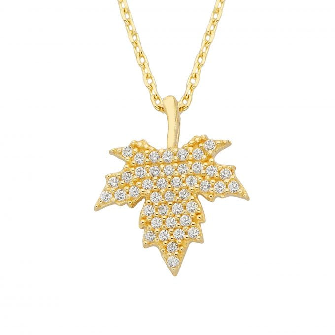 14K Real Solid Gold Maple Leaf Pendant Necklace for Women | Cute Necklaces | Autumn Jewelry