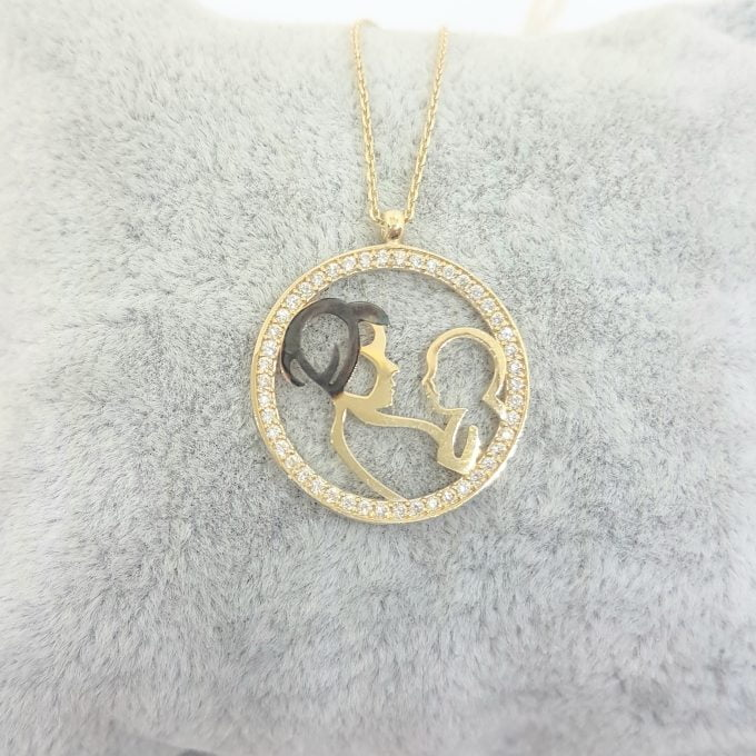 14K Real Solid Gold Mother Child Baby Design with Zirconia Stones Pendant Necklace for Women , Mother's Day Gift, Birthday Gift
