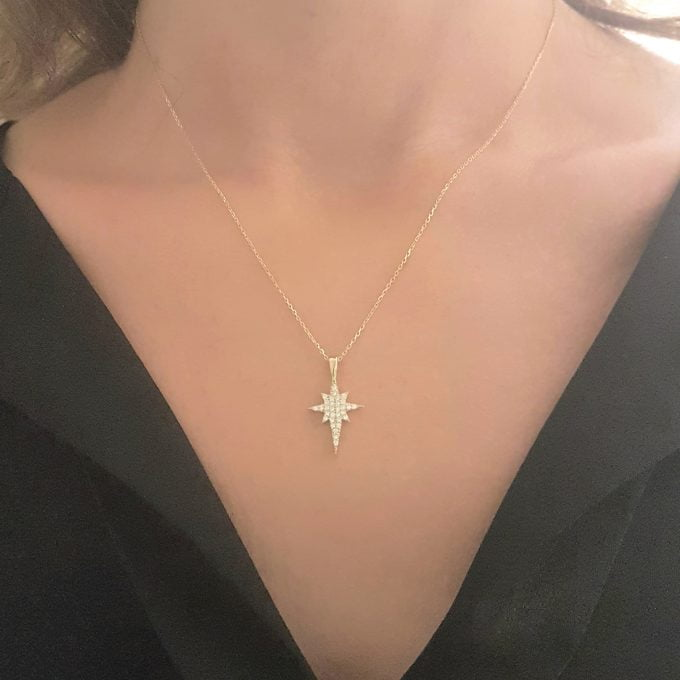 14K Real Solid Gold North Star Necklace for Women | Cute Necklaces | Best Birthday Christmas Gift