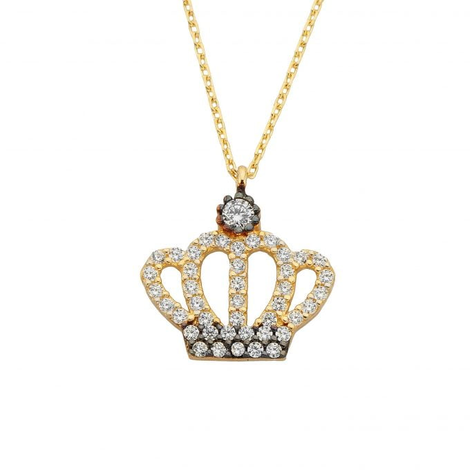 14K Real Solid Gold Queen and Crown Pendant Necklace for Women | the best way to say You are the Queen of My Heart Princess Birthday Christmas Chain Dainty Cute