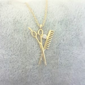 14K Real Solid Gold Scissors and Comb Charm Pendant Necklace Hair Stylist Dresser Salon Fashion Barber Beauty Shop Women gift