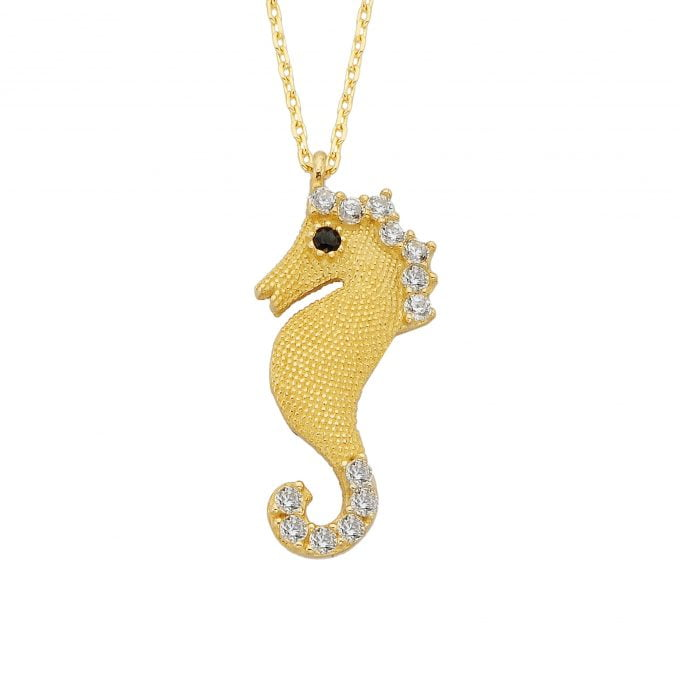 14K Real Solid Gold Seahorse Pendant Necklace for Women | Fish Sea Life Nature Ocean Jewelry Gifts For Her