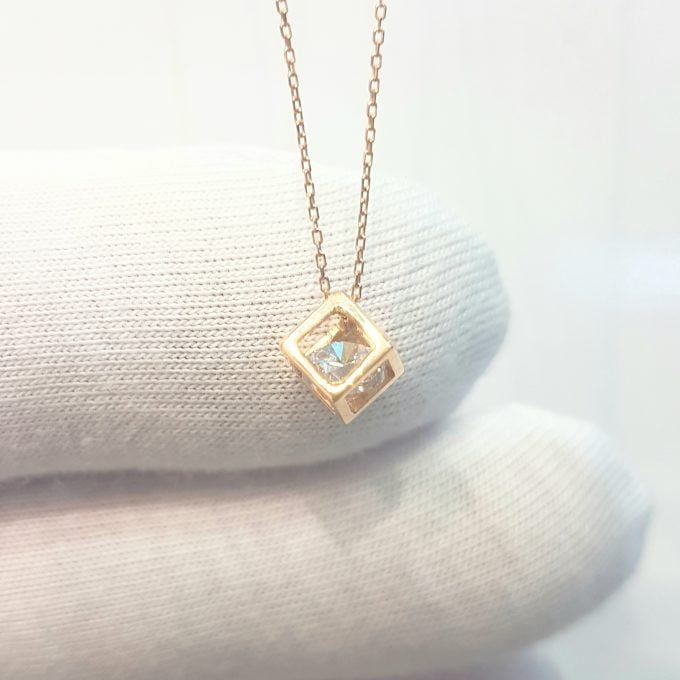 14K Real Solid Gold Square Cube Style Inside Zirconia Stone Tiny Cute Charm Dainty Delicate Trendy Pendant Necklace birthday gift for Women Jewelry girlfriend teengirls