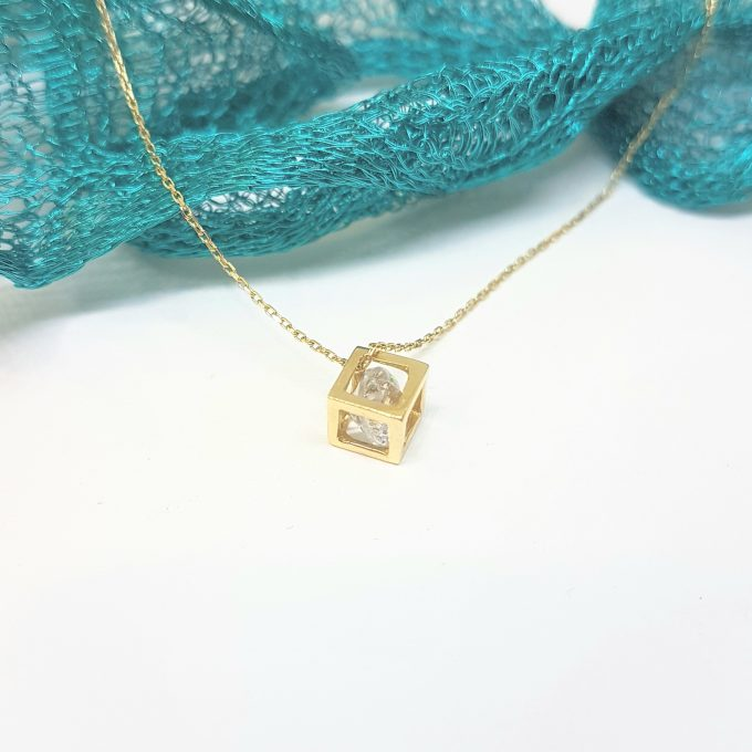 14K Real Solid Gold Elegant Cube Style Tiny Charm Dainty Delicate Cute Trendy Pendant Necklace with Floating Zirconia Stone for Women Wife Girlfriend Mom Best Birthday Gift