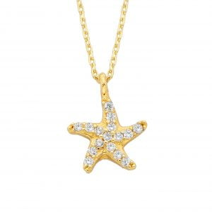 14K Real Solid Gold Starfish Necklace for Women | Tiny Cute Pendant | Christmas Birthday Christmas Mother's Day Gift for Her