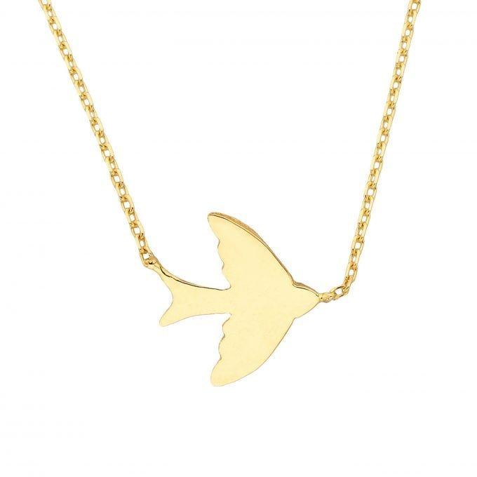 14K Real Solid Gold Swallow Dove Bird Design Cute Charm Dainty Delicate Trendy Sideways Pendant Necklace best birthday gift Women Jewelry girlfriend mother girl
