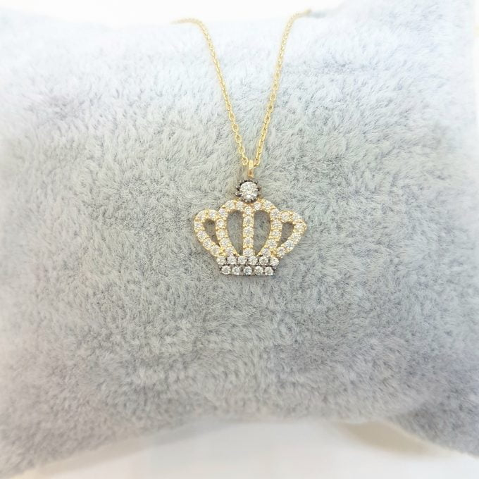 Queen Princess Crown Pendant Necklace 14K Real Solid Gold with White Zirconia Stones Cute Charm Dainty Delicate Trendy Best Birthday gift for women the best way to say You are the Queen of My Heart