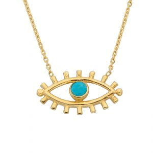 14K Real Solid Gold Turquoise Evil Eye Pendant Necklace for Women | December Birthstone |Birthday Christmas Gifts