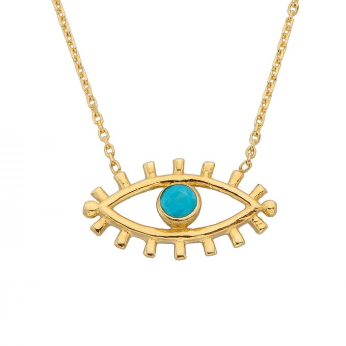 14K Real Solid Gold Turquoise Evil Eye Pendant Necklace for Women   December Birthstone  Birthday Christmas Gifts