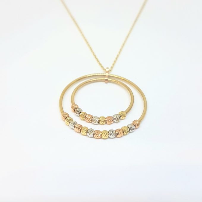 14K Real Solid Gold Two Circles Rings Hoops with Italian Balls Cute Charm Dainty Delicate Trendy Pendant Necklace gift