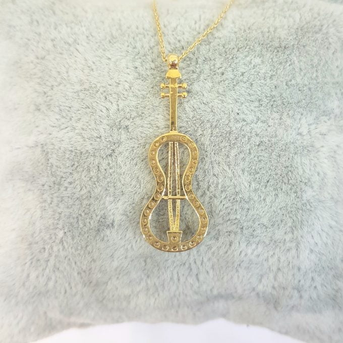 14K Real Solid Gold Violin Bass Guitar Charm Pendant Necklace Decorated with White Zirconia Stones Dainty Elegant for Women