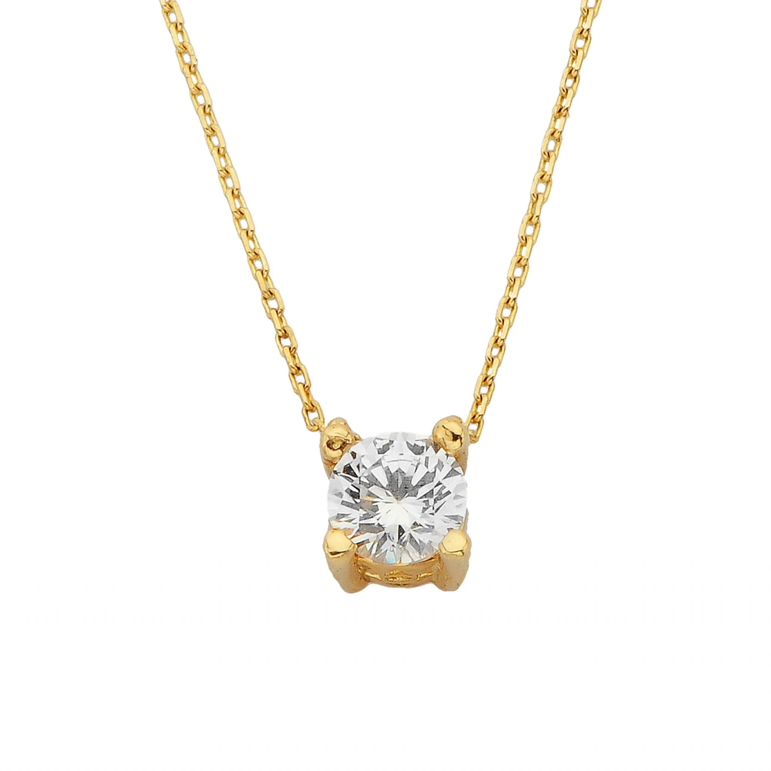 14K Real Solid Yellow Gold CZ Solitaire Pendant Necklace for Women   Cubic Zirconia Necklace for Women