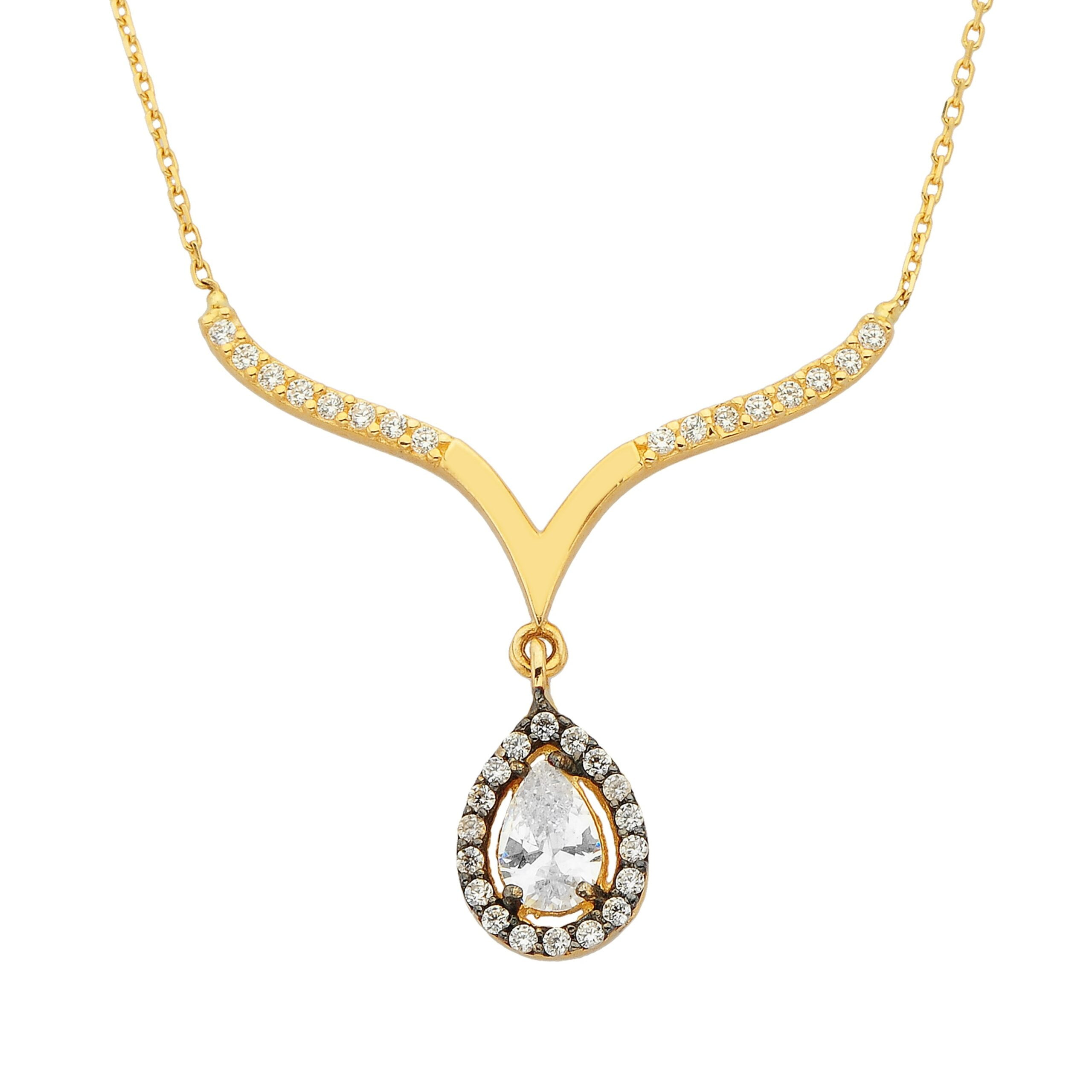 14K Real Solid Yellow Gold Tear Drop Halo Cubic Zirconia Necklace | Tear Drop Pendant Jewelry for Women's Wedding Bridal Christmas Mother's Day Birthday Gift