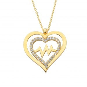 14K Solid Gold Double Heart Love Lifeline Pulse EKG Heartbeat Pendant Necklace Decorated with Cubic Zirconia Stones Charm Dainty Birthday Christmas Mother's Day Gift For Women