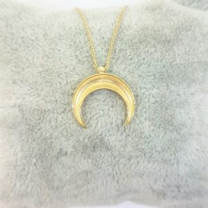 14K Solid Gold Elegant Crescent Moon Double Horn Half Phase Moon Claw Style Charm Danity Delicate Trendy Pendant Necklace Best Birthday Gift for Women