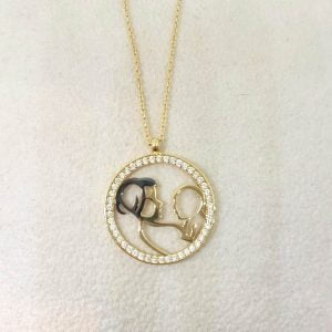 14K Real Solid Gold Mother Child Design with Zirconia Stones Charm Dainty Delicate Cute Trendy Pendant Necklace Birthday Gift for Women Mother Daugther Girl Baby Jewelry Circle Disc Round