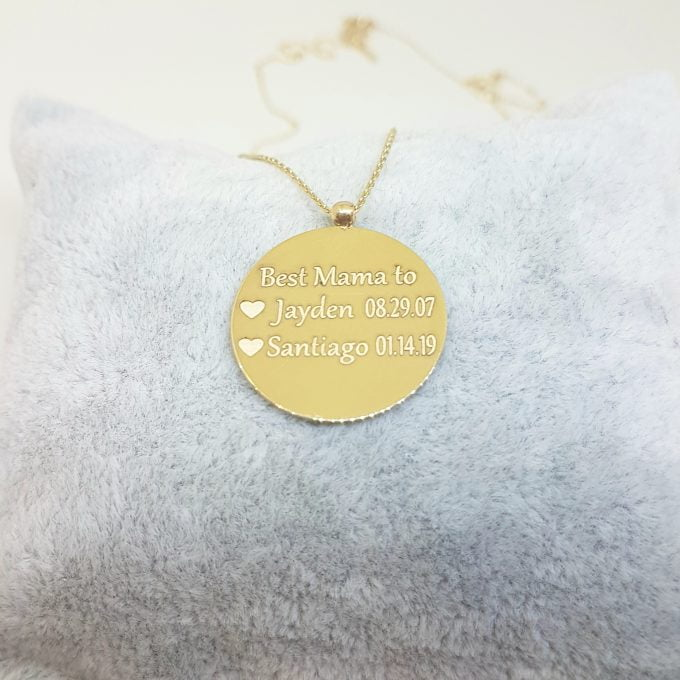 14K Gold Round Plate Disc Circular Engravable Customize Memorial Personalized Forever Remember Name Date Text Charm Delicate Trendy Pendant Necklace Best Birthday Anniversary Gift for Women (20 mm)